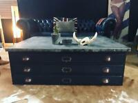 VINTAGE PRINTERS CHEST OF DRAWERS COFFEE TABLE *ONE OFF!