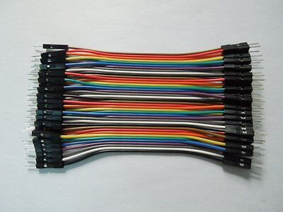 40pcs 10cm Male To Male Dupont Wire Jumper Cable for Arduino Breadboard
