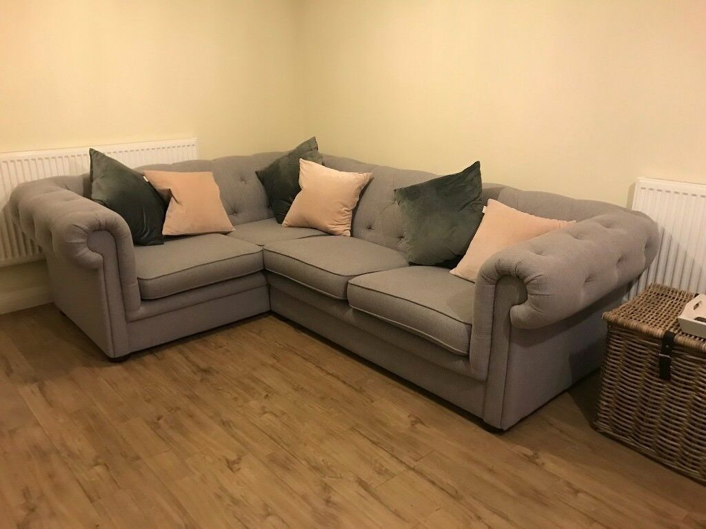 Reduced Grey Left Hand Facing Corner Sofa Chesterfield Style