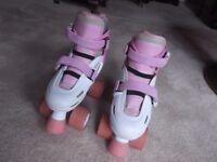 Girls Quad Roller Skates SFR Storm Adjustable size 12-2 White & Pink hardly worn