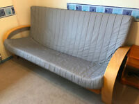 Grey sofa bed - wood frame