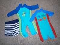 3x baby swimming suits 6/9 months byndle