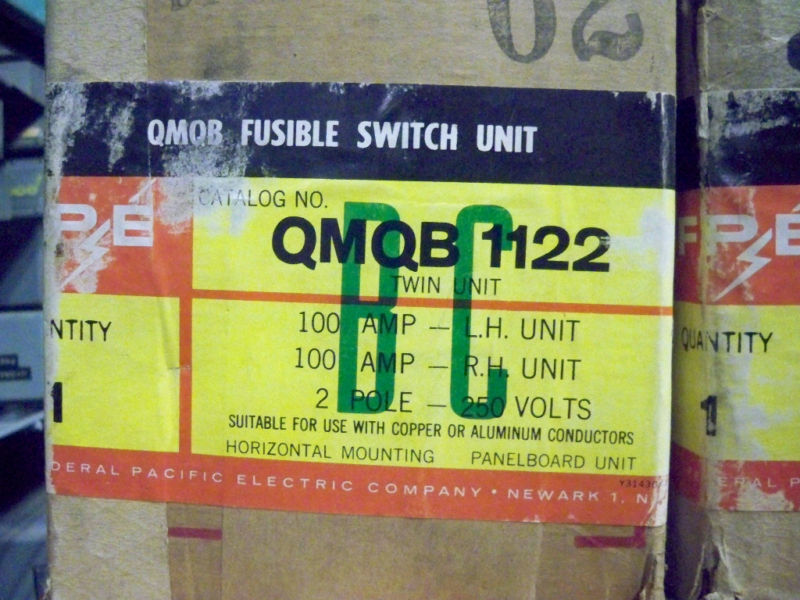 Fpe Qmqb1122 100a Twin 1ph 2p 240v Fusible Switch Unit New Surplus W/ Hardware