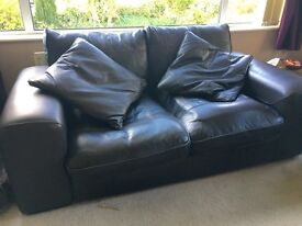 2 Leather Sofas - 3 seaters in Brown Leather