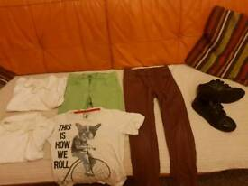 Boys black Adidas trainers size 2 and clothes 7-8 bundle