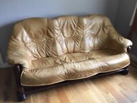 Leather sofa set; 3 seater and single seater