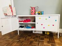 White storage cabinet.