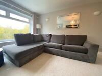Sofa bed, footstool and armchair