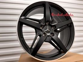 "J12* 4X NEW 18"" ALLOY WHEELS ALLOYS MERCEDES C63 AMG A V S E C CLASS CLA CLA45 A45 SLK SLC BLACK"