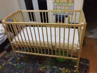 Baby cot in excellent condition comes from a pet and smoke free home