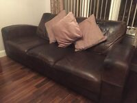 3 seater distressed leather brown sofa & chair