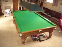 Burroughs and Watts Table Dismantled for collection Full Size Cues Balls etc