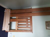 oak single bed frame and mattress - dismantled and ready to collect