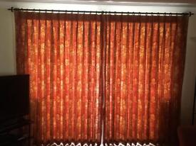 Beautifully fully lined curtains -hand made. Terracotta and gold.