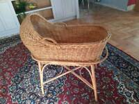 Wicker Babies Crib and Bamboo Stand
