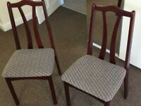 Wooden chairs and folding dining table in good, clean condition