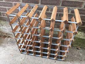 Wooden and steel wine rack 36/42 bottle capacity, pine