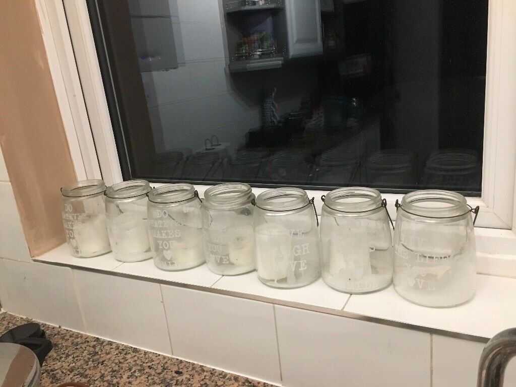 7 used candle jars