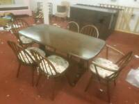Dining Table & Chairs - Quality Dark Wood Dining Table with 6 Chairs