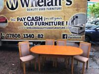 Cherry wood dining room table and 4 chairs £75