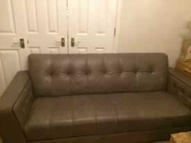 Stunning sofa leather taupe/grey