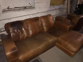 Brown leather chaise sofa and chair