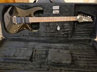 Ibanez RG870 with hard case + Marshall MG15 practice amp.