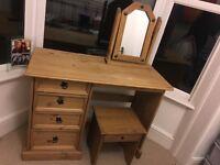 Corona pine dressing table, mirror and stool