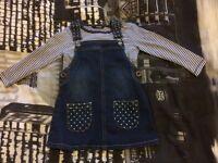 Girls denim pinafore dress and t-shirt set, 1-1.5 years