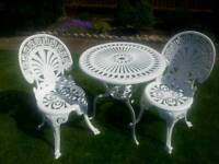 Cast aluminium garden table and two chairs
