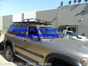 Alloy-Roof-Top-Tent-Rack-Charcoal-Grey-2200mm-Nissan-Patrol-GQ-GU-MQ-1987-2011