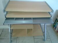 Computer Workstation Desk with sliding keyboard shelf with pull out storage drawer