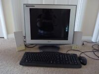 Sony Computer screen with keyboard, mouse and speakers