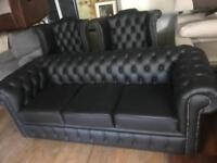 Chesterfield real leather sofa and chairs new
