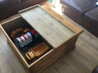 Large solid wood coffee table / chest / trunk / toy box
