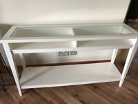 Console table. White with tempered glass top.