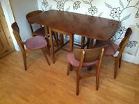 RETRO 1970S FOLDING GATE LEG DINING TABLE WITH 4 CHAIRS MADE BY REMPLOY