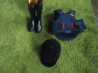 childrens horse riding wear hat boots safety vest