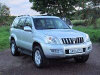 Toyota Land Cruiser LC4 2004 3.0 D-4D turbo diesel 200 BHP 8 seat 98000 miles 4x4 5 speed automatic