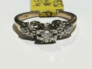 #1532 14-18K LADIES YELLOW & WHITE GOLD DIAMOND ENGAGEMENT RING *SIZE 5 1/4* JUST BACK FROM APPRAISAL AT $1750.00