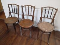 3 x Fischel Bentwood Chairs, 2 OK condition (with splits), 1 Very Poor Condition
