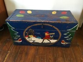 Vintage Rustic Painted Wooden Trunk / Chest / Toy Box