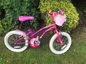 Girls bike 16 inch wheel age 5-7 pink basket bell pop star