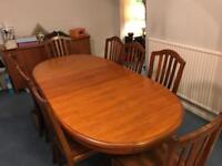 8 seater dining table and sideboard, vintage solid wood furniture (Stag)