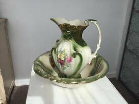 LARGE ANTIQUE JUG AND BOWL