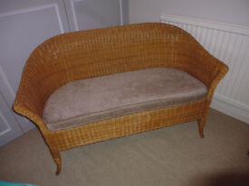 Wicker 2 seater sofa and cushion pad - great condition