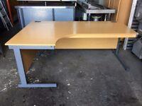 L SHAPED OFFICE DESK 1810mm X 1200mm LIGHT OAK