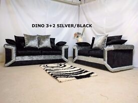 DINO SILVER/BLACK CRUSHED VELVET 3+2 OR CORNER SOFA + FOOTSTOOL SOFA | EXPRESS DELIVERY ALL UK