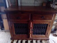 Ethnic dark wood sideboard, two drawers, two doors