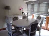 Stunning Louis Style White Table & Chairs painted in Laura Ashley and Crushed Silver Grey Fabric